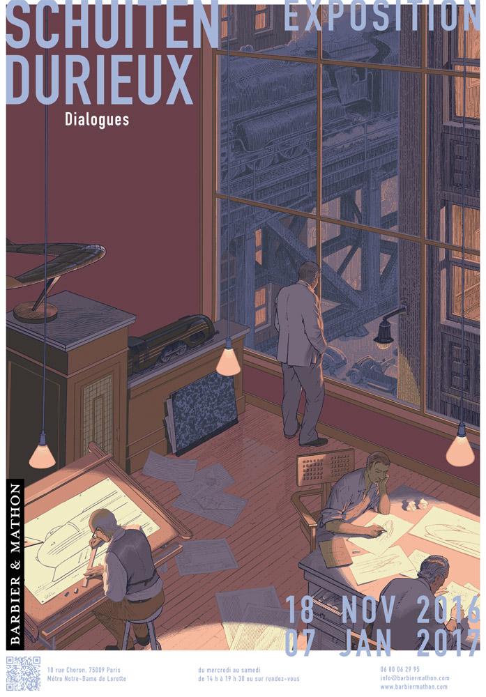 affiche de l'exposition dialogues - Schuiten/Durieux centaurckub