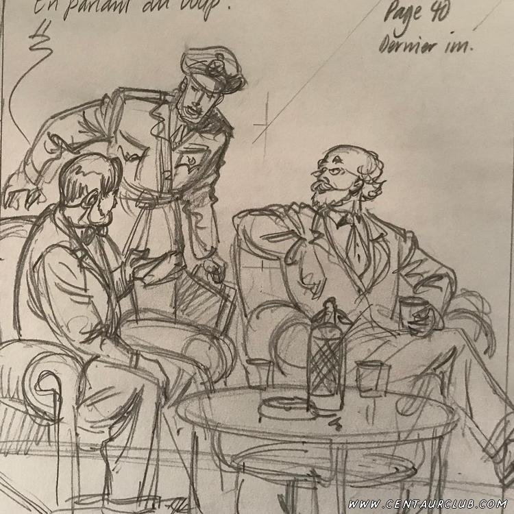 Blake, Mortimer et Chase crayonnés par Peter Van Dongen centaurclub