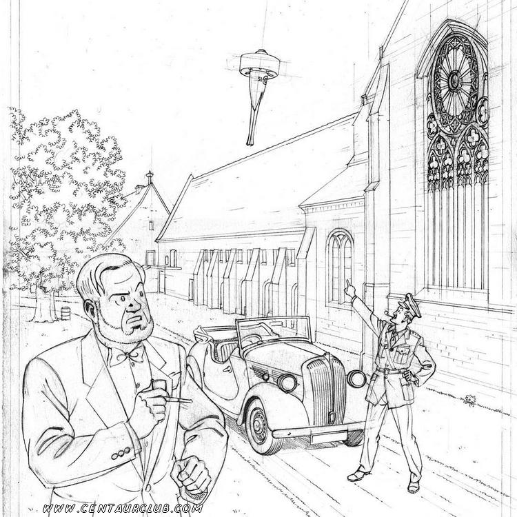 crayonné de l'affiche pour l'exposition blake et Mortimer a l'abbaye par Peter Van Dongen - centaurclub