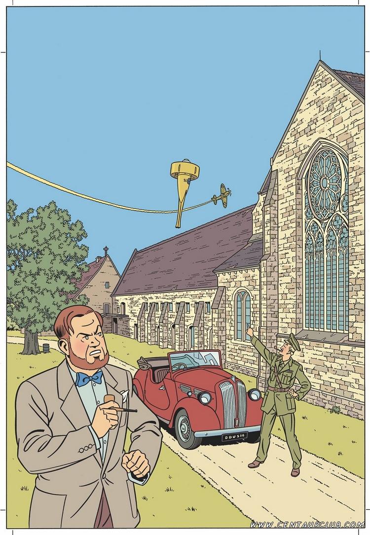 Affiche, sans texte, de l'exposition Blake et Mortimer à l'abbaye de l'Epau par peter van dongen- centaurclub