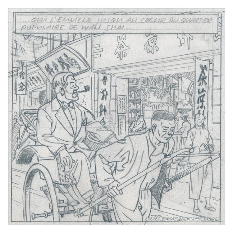 blake et mortimer ex-libris BD fugue Mortimer dans un pousse pouse crayonné centaurclub