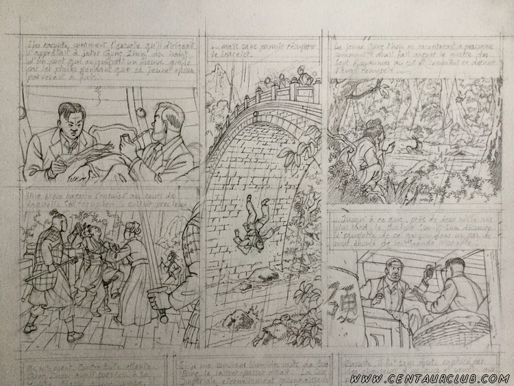 """crayonné du Blake et Mortimer """"La vallée des Immortels"""" -2- Le millième bras du Mékong - centaurclub"""