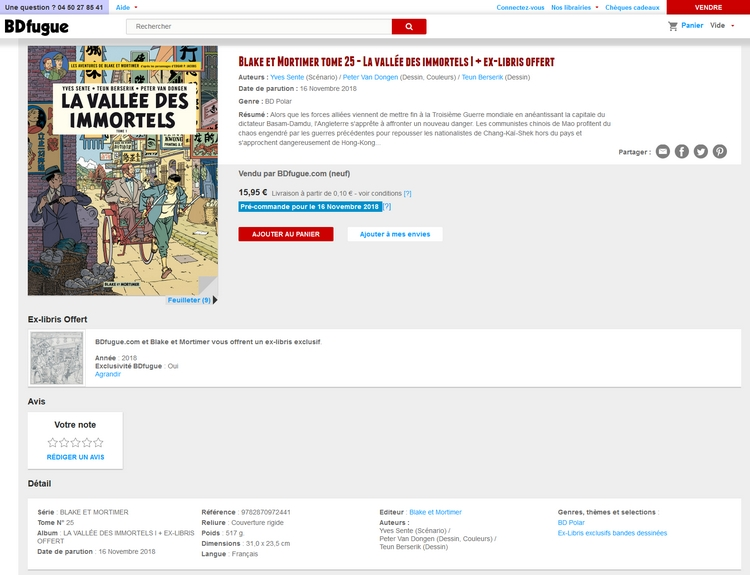 copie d'écran du site BD fugue annonce ex-libris Bd fugue