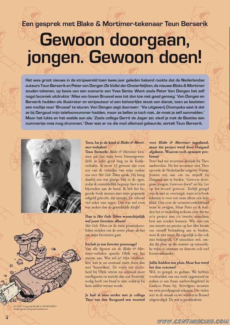 Blake et Mortimer. interview Ballon Magazine en Néerlandais.centaurclub