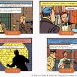 les 4 differentes vignette des bouteilles de whisky Blake et Mortimer centaurclub